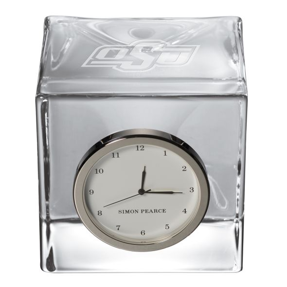 Oklahoma State University Glass Desk Clock by Simon Pearce - Image 2