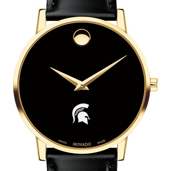 Michigan State University Men's Movado Gold Museum Classic Leather
