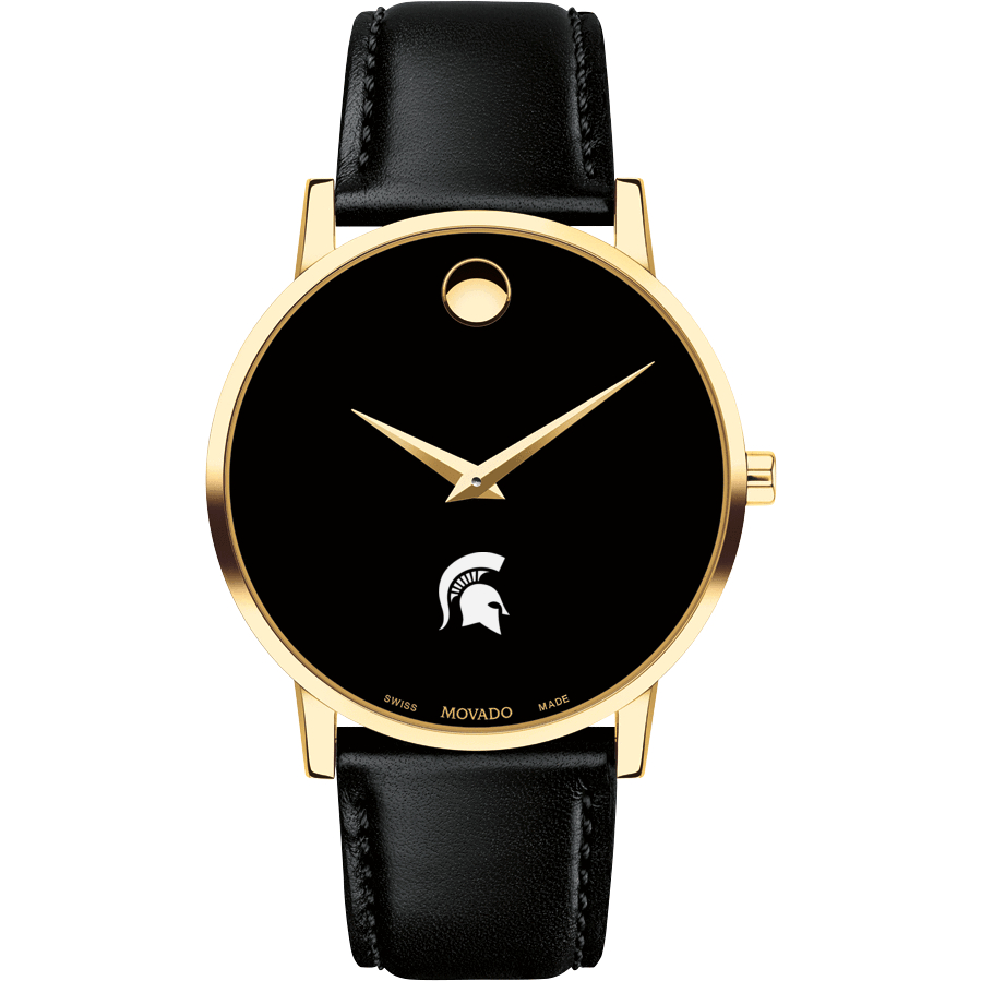 Michigan State Men's Movado Gold Museum Classic Leather - Image 2