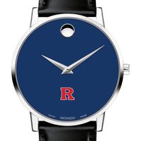 Rutgers University Men's Movado Museum with Blue Dial & Leather Strap