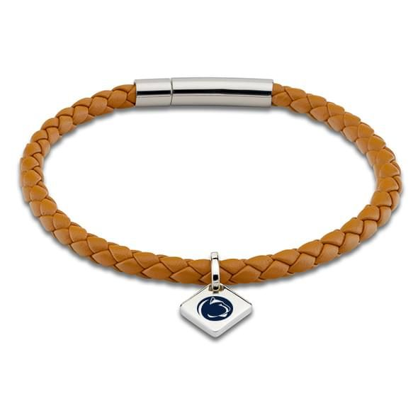 Penn State Leather Bracelet with Sterling Silver Tag - Saddle