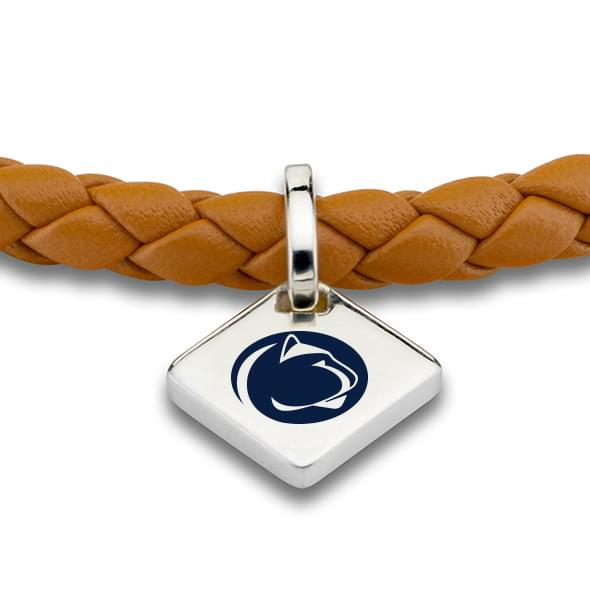 Penn State Leather Bracelet with Sterling Silver Tag - Saddle - Image 2