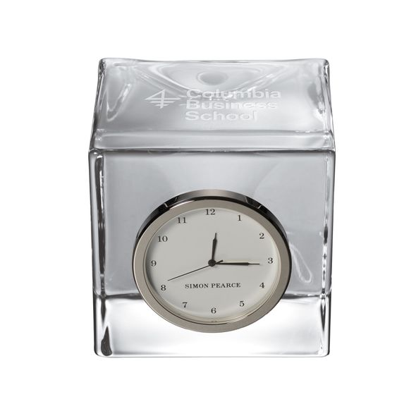 Columbia Business Glass Desk Clock by Simon Pearce