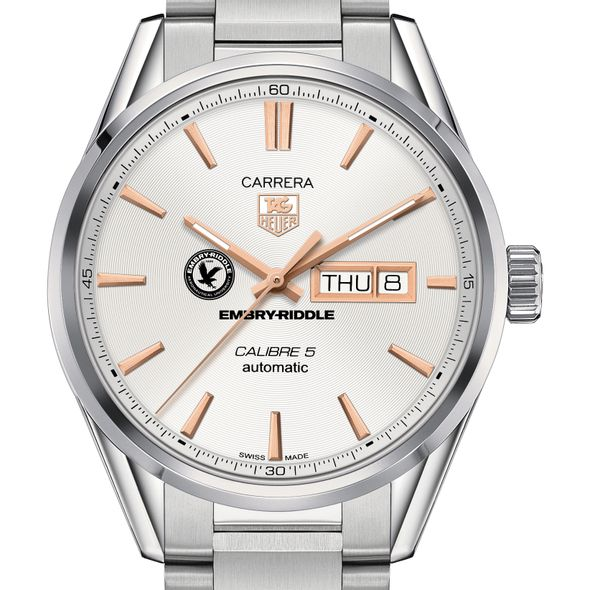 Embry-Riddle Men's TAG Heuer Day/Date Carrera with Silver Dial & Bracelet - Image 1