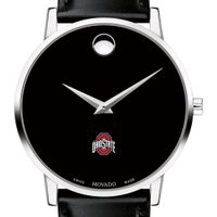 Ohio State Men's Movado Museum with Leather Strap