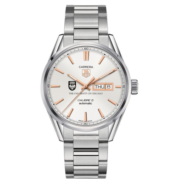 University of Chicago Men's TAG Heuer Day/Date Carrera with Silver Dial & Bracelet - Image 2