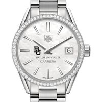 Baylor University Women's TAG Heuer Steel Carrera with MOP Dial & Diamond Bezel