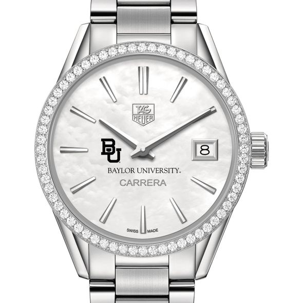 Baylor University Women's TAG Heuer Steel Carrera with MOP Dial & Diamond Bezel - Image 1