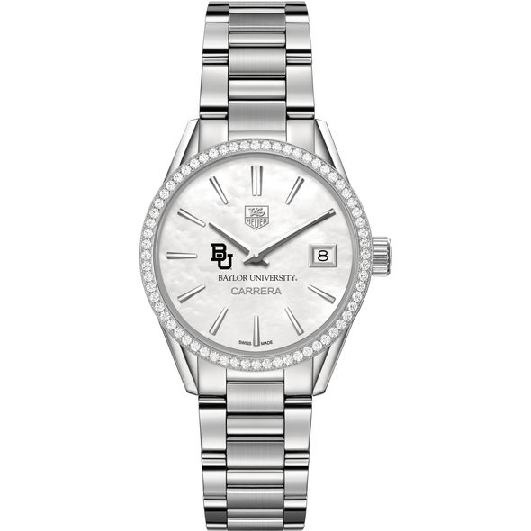 Baylor University Women's TAG Heuer Steel Carrera with MOP Dial & Diamond Bezel - Image 2