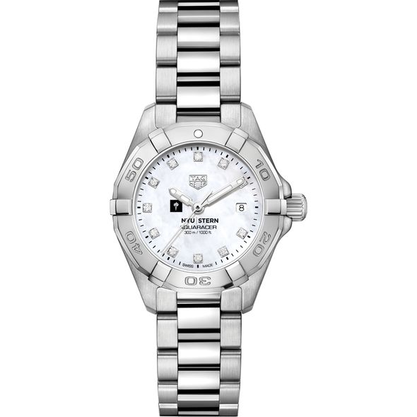 NYU Stern Women's TAG Heuer Steel Aquaracer with MOP Diamond Dial - Image 2