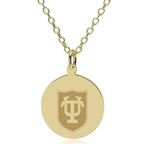 Tulane 18K Gold Pendant & Chain