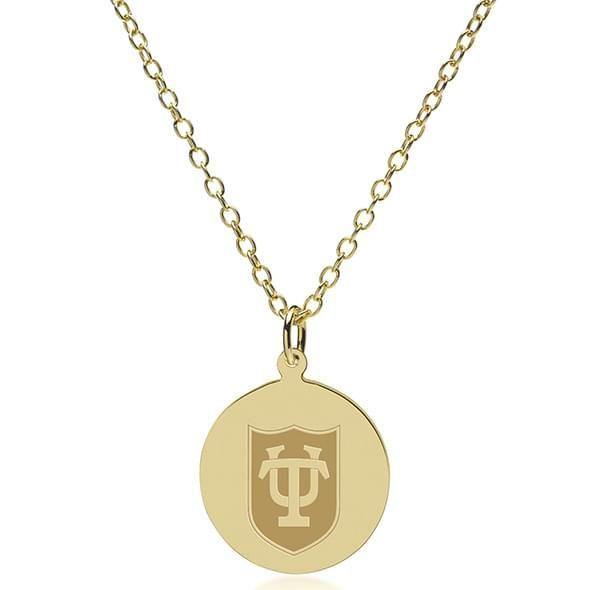 Tulane 18K Gold Pendant & Chain - Image 2