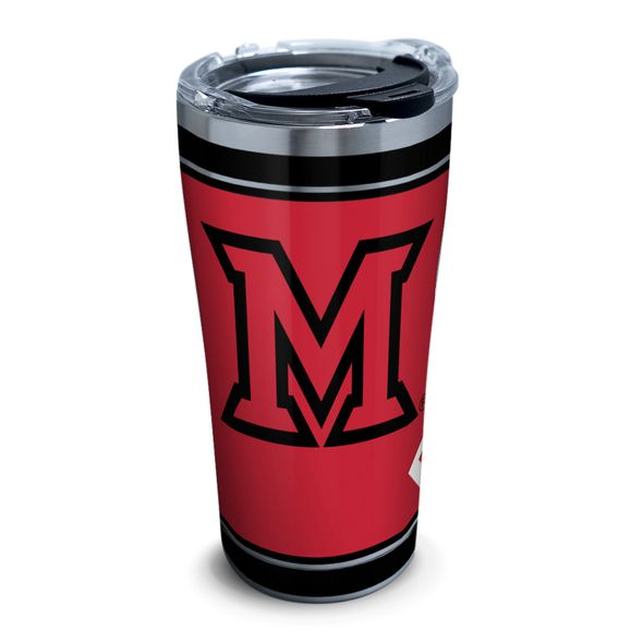 Miami University 20 oz. Stainless Steel Tervis Tumblers with Hammer Lids - Set of 2 - Image 1