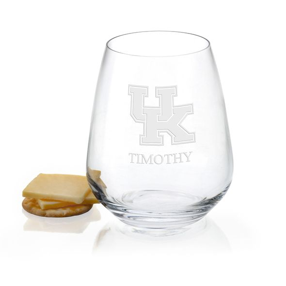 University of Kentucky Stemless Wine Glasses - Set of 2 - Image 1