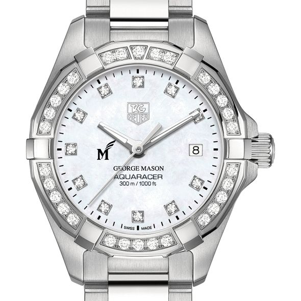 George Mason University W's TAG Heuer Steel Aquaracer with MOP Dia Dial & Bezel
