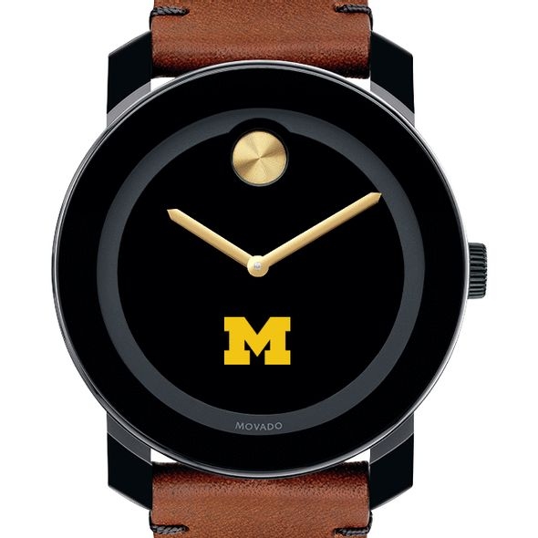 University of Michigan Men's Movado BOLD with Brown Leather Strap