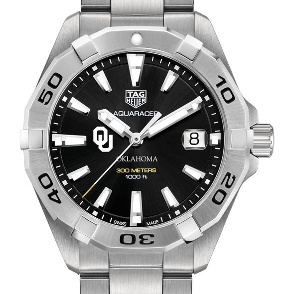 University of Oklahoma Men's TAG Heuer Steel Aquaracer with Black Dial