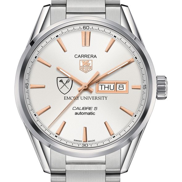 Emory University Men's TAG Heuer Day/Date Carrera with Silver Dial & Bracelet