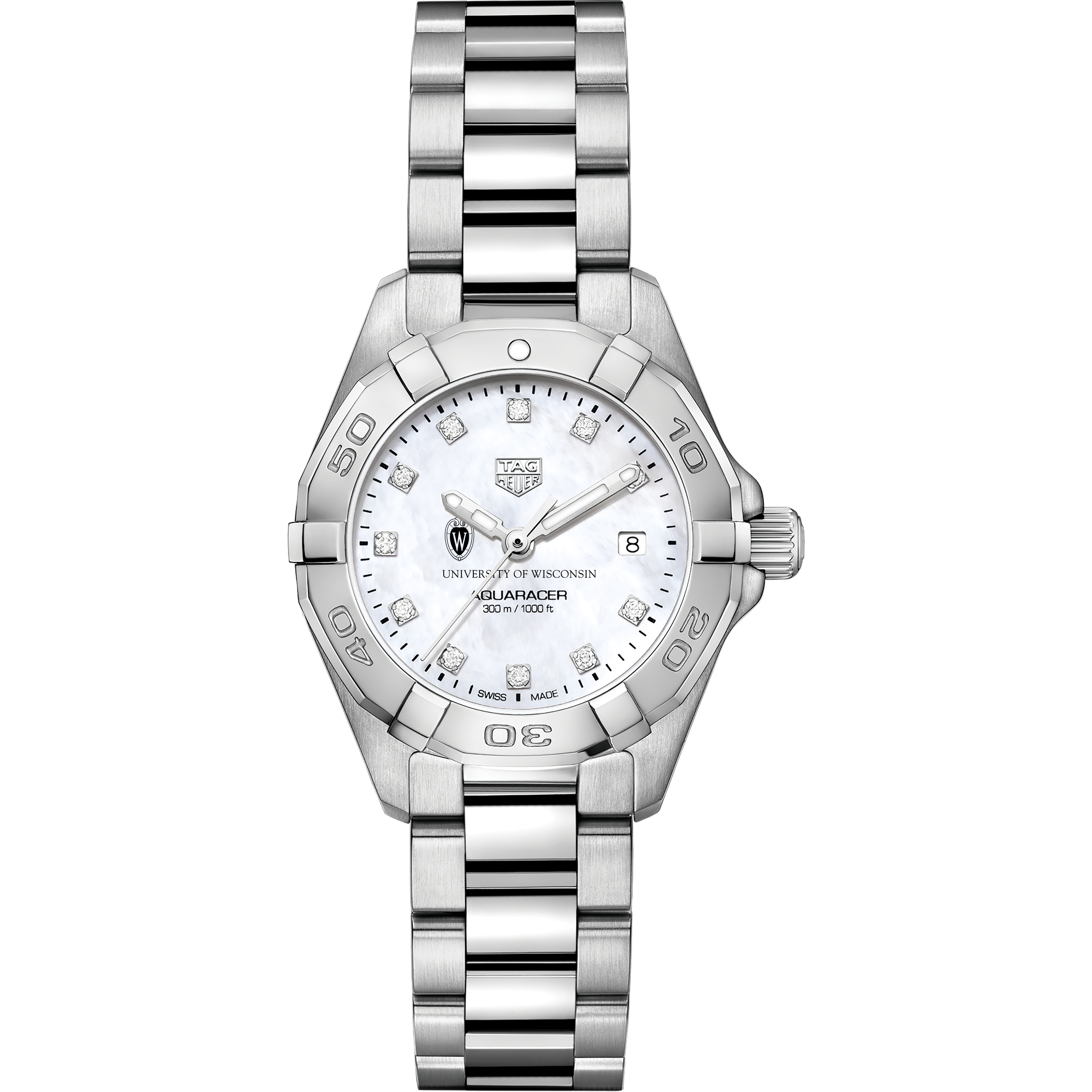 Wisconsin Women's TAG Heuer Steel Aquaracer with MOP Diamond Dial - Image 2