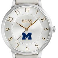 University of Michigan Women's BOSS White Leather from M.LaHart