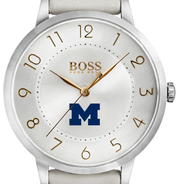 University of Michigan Women's BOSS White Leather from M.LaHart - Image 1