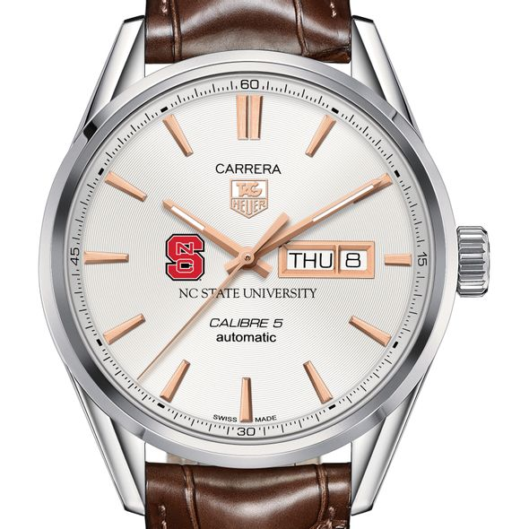 North Carolina State Men's TAG Heuer Day/Date Carrera with Silver Dial & Strap