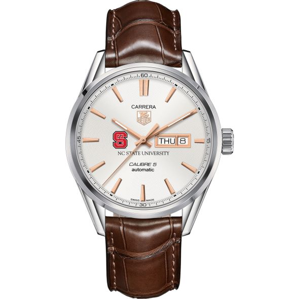 North Carolina State Men's TAG Heuer Day/Date Carrera with Silver Dial & Strap - Image 2