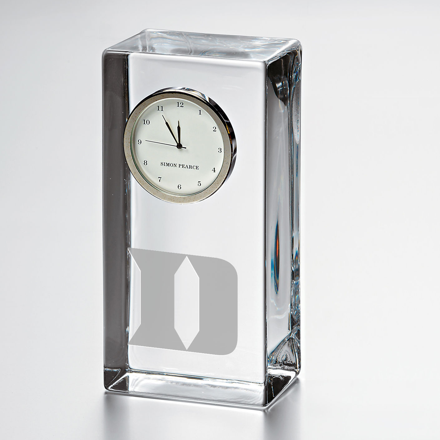 Duke Tall Glass Desk Clock by Simon Pearce