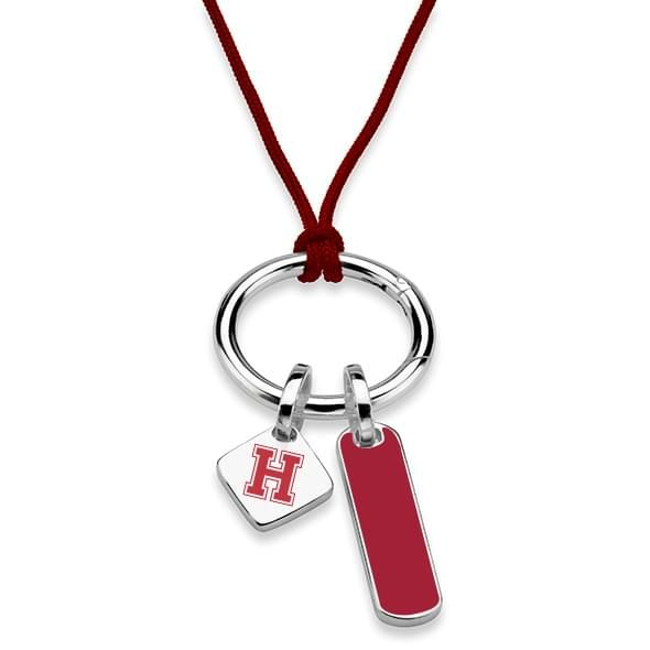 Harvard University Silk Necklace with Enamel Charm & Sterling Silver Tag - Image 2