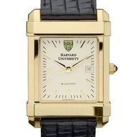Harvard Men's Gold Quad Watch with Leather Strap