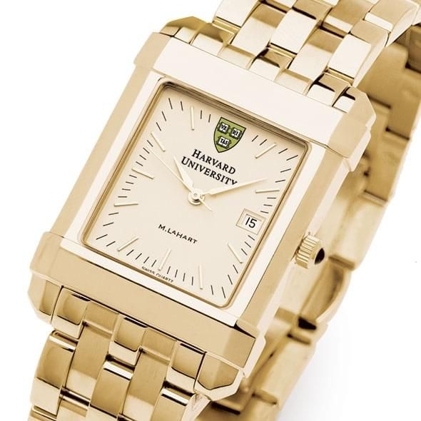Harvard Men's Gold Quad Watch with Bracelet