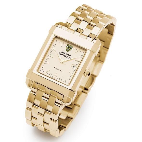 Harvard Men's Gold Quad Watch with Bracelet - Image 2