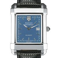 Harvard Men's Blue Quad Watch with Leather Strap