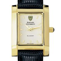 Harvard Women's Gold Quad Watch with Leather Strap
