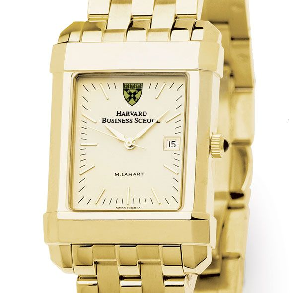 Harvard Business School Men's Gold Quad Watch with Bracelet