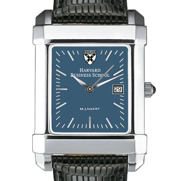 Harvard Business School Men's Blue Quad Watch with Leather Strap