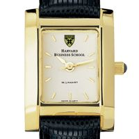 Harvard Business School Women's Gold Quad Watch with Leather Strap