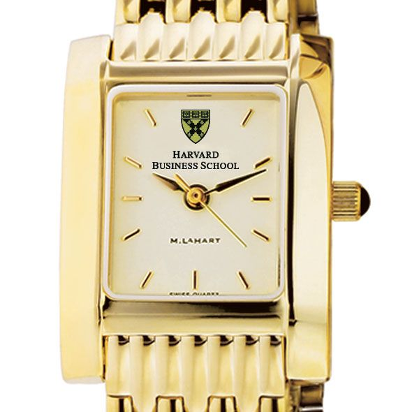 Harvard Business School Women's Gold Quad Watch with Bracelet - Image 1