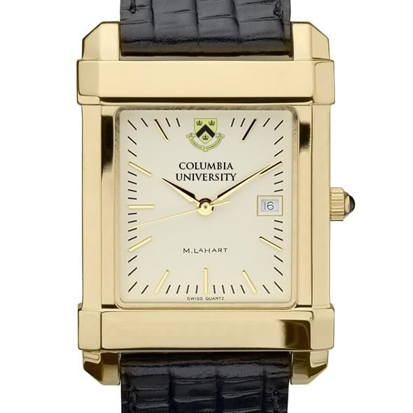 Columbia University Men's Gold Quad Watch with Leather Strap - Image 1