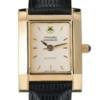 Columbia University Women's Gold Quad Watch with Leather Strap