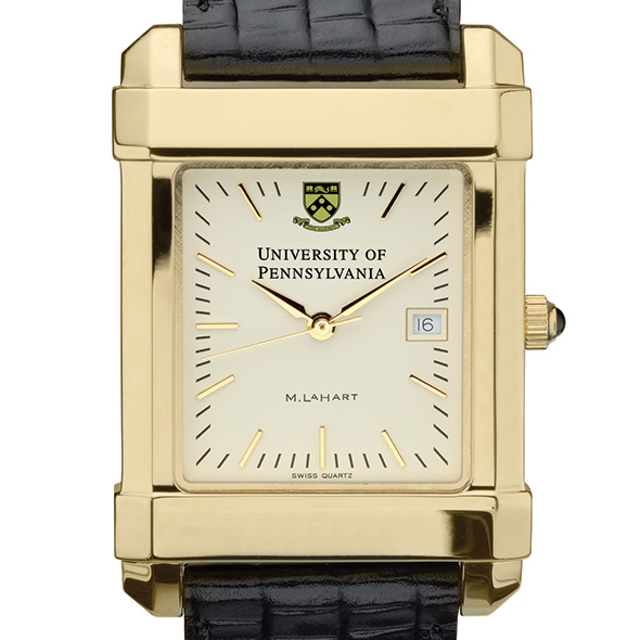 Penn Men's Gold Quad Watch with Leather Strap