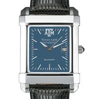 Texas A&M Men's Blue Quad Watch with Leather Strap