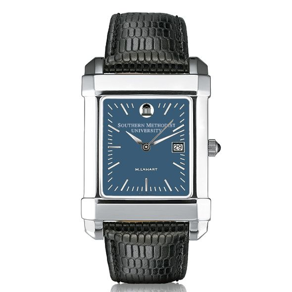 SMU Men's Blue Quad Watch with Leather Strap - Image 2