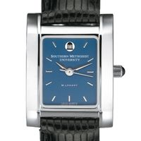 SMU Women's Blue Quad Watch with Leather Strap