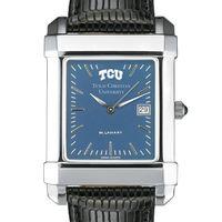 TCU Men's Blue Quad Watch with Leather Strap