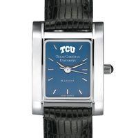 TCU Women's Blue Quad Watch with Leather Strap