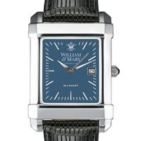 William & Mary Men's Blue Quad Watch with Leather Strap