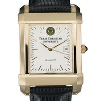 TCU Men's Gold Quad Watch with Leather Strap
