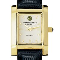 TCU Women's Gold Quad Watch with Leather Strap