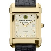 SMU Men's Gold Quad Watch with Leather Strap